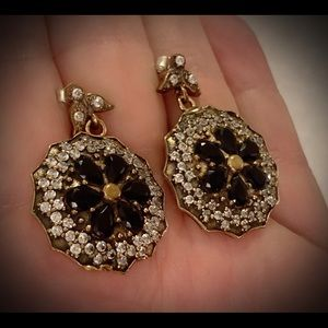 Vintage Dinner Cluster Sapphire Silver Earrings